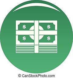 Bundle banknote icon vector green