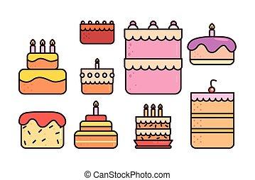 bundle birthday cakes with icons set