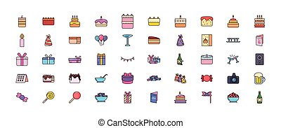 bundle birthday with icons set