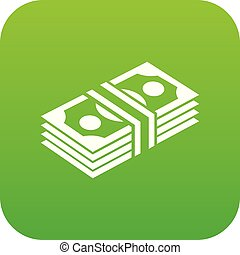 Bundle note icon green vector