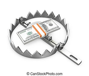 Bundle of 100 dollars in a bear trap, isolated on white ...