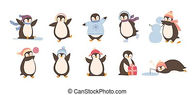 Bundle of adorable penguins wearing winter clothing and hats...