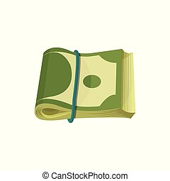 Bundle of American banknotes. Dollar bills folded in two and stretched by blue elastic band. Paper money. Cartoon US currency. Flat vector design