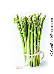 Bundle of asparagus on the white background vertical