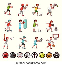 bundle of athletes and sports equipment icons