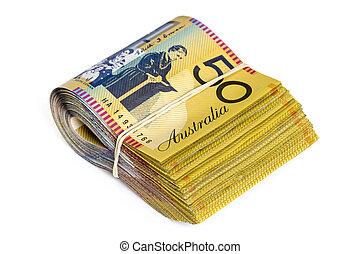 Bundle of Australian Money Isolated on White