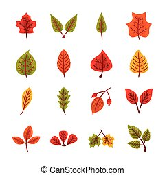 bundle of autumn leaves flat style in green background