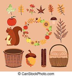 bundle of autumn season chipmunk and icons