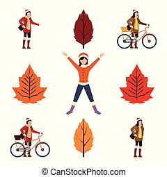 bundle of autumn season icons with girls and bicycles