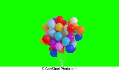 Bundle of Balloons Flies Up and Lingers on the Green Screen. Beautiful 3d Animation. Ultra HD 4K 3840x2160