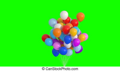 Bundle of Balloons Flies Up on the Green Screen. 3d Animation. Ultra HD 4K 3840x2160.