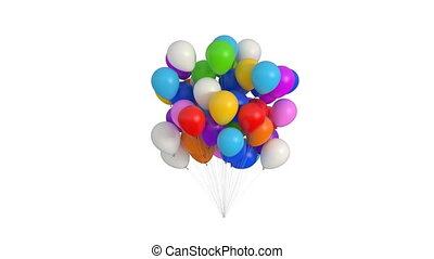 Bundle of Balloons on a White Background. Beautiful 3d Animation with an Alpha Matte Channel. Ultra HD 4K 3840x2160.