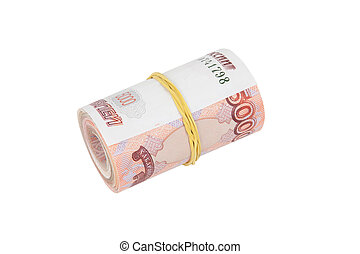 Bundle of banknotes puffed up in a straw and wrapped with an elastic band