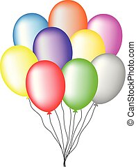 Bundle of Colored Balloons isolated on white background. For Greeting Card, Invitation. Vector Illustration for Your Design, Web.