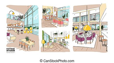 Bundle of colorful drawings of summer cottage interiors full...