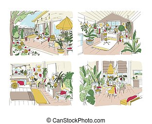 Bundle of colorful free sketches of house or apartment...