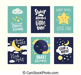 Bundle of colorful poster or flyer templates with Good Night and Sweet Dreams wishes with elegant lettering handwritten with calligraphic cursive font, clouds and stars. Flat vector illustration.
