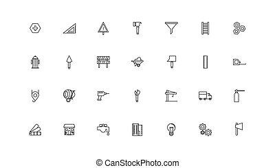 bundle of construction set line icons