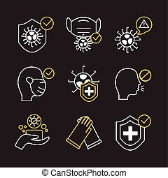 bundle of covid19 set icons vector illustration design