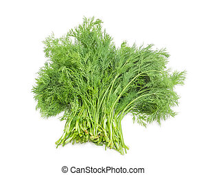 Bundle of dill on a white background