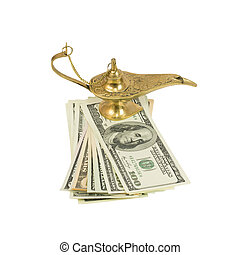 Bundle of dollars and magic lamp of Aladdin