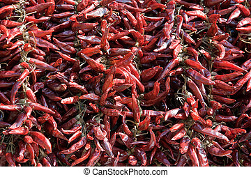 Bundle of dried red cayenne hot pepper