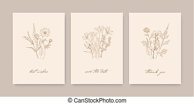 Bundle of elegant card templates decorated with wild blooming flowers, herbs and herbaceous plants on light background. Monochrome realistic hand drawn vector illustration in beautiful vintage style.