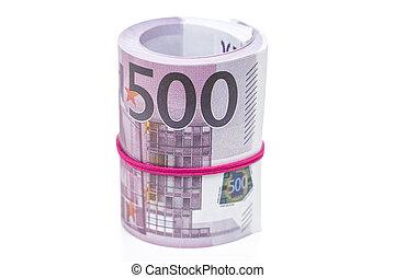 Bundle of euro money on white