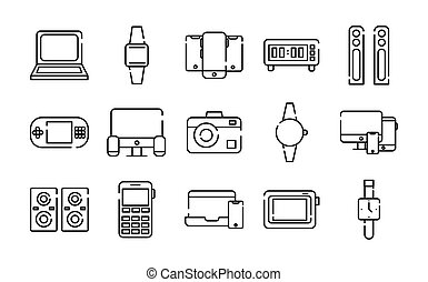 bundle of fifteen devices electronics set icons