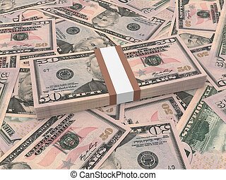 Bundle of fifty dollars bank notes on the background.