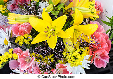 Bundle of fresh flowers at the market