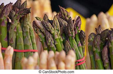 Bundle of fresh green asparagus close up - Bundle bunch of...