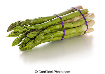 Bundle of fresh green asparagus on a white background