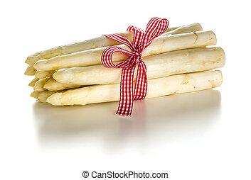 Bundle of fresh white asparagus on a white background
