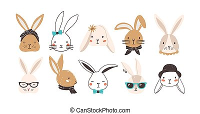 Bundle of funny bunny faces isolated on white background. Set of cute rabbits or hares wearing glasses, sunglasses, hat, scarf, headscarf, bow tie, collar. Flat cartoon colorful vector illustration.