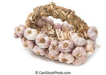 Bundle of garlic isolated on white