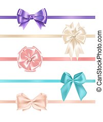 Bundle of gorgeous realistic satin bows and ribbons of various types and colors isolated on white background. Set of elegant decorative elements, glossy present decorations. Vector illustration.