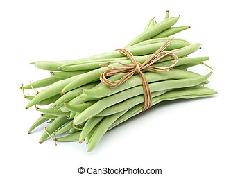 green beans - bundle of green beans isolated on white