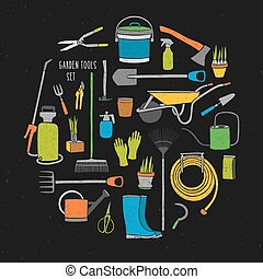 Bundle of hand drawn gardening tools arranged into circle. Collection of various colorful agricultural equipment for work in garden isolated on black background. Bright colored vector illustration.