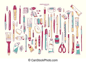 Bundle of hand drawn stationery or writing utensils. Set of writing and art supplies isolated on white background - brush, pen, pencil, marker, utility knife, sharpener. Vector illustration.
