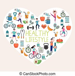 bundle of healthy lifestyle set icons in heart