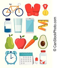 bundle of healthy lifestyle with icons