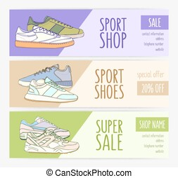 Bundle of horizontal banner templates with stylish sneakers...