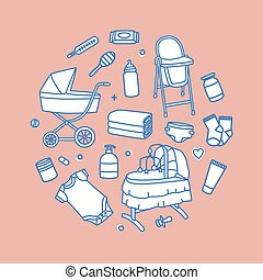 Bundle of infant baby care and feeding products drawn with contour lines on pink background. Set of tools for newborn child. Collection of nursery supplies. Vector illustration in modern linear style
