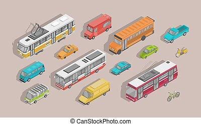 Bundle of isometric motor vehicles isolated on light background - car, scooter, bus, tram, trolleybus, minivan, bicycle, pickup truck, trailer. Set of city transportation. Vector illustration.