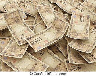 Bundle of Japanese Yen notes.  Pile of 10000 Yen