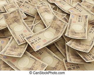 Bundle of Japanese Yen notes.  Pile of 10000 Yen