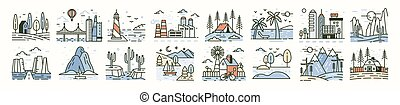 Bundle of landscape icons or scenes. Set of beautiful trendy natural sceneries - beach, forest camp, countryside, desert, city, industrial area. Simple vector illustration in modern line art style.