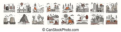 Bundle of landscape icons or symbols. Set of beautiful natural sceneries - beach, forest camp, countryside, desert, city, industrial area. Colorful vector illustration in modern line art style.