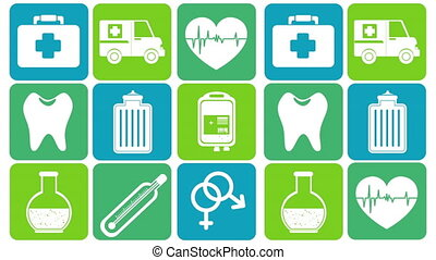 bundle of medical set icons animation